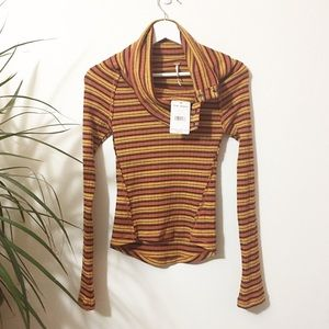 Free People Fall Color Striped Cowl Turtleneck